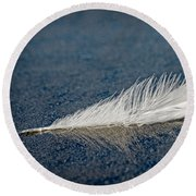 Floating Feather Reflection Round Beach Towel