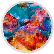 Round Beach Towel featuring the painting Floating Feather Swirls by Claire Bull