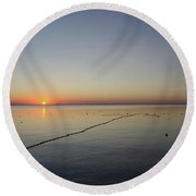 Round Beach Towel featuring the photograph Floating Fishnet by Kennerth and Birgitta Kullman