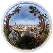 Floating Globe  Round Beach Towel