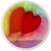 Floating Hearts Round Beach Towel by Susan Stone