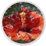 Floating Hibiscus Round Beach Towel