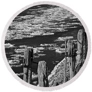 Floating Ice 2 Round Beach Towel