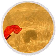 Floating In Gold Round Beach Towel