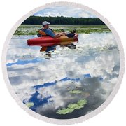 Floating In The Sky Round Beach Towel