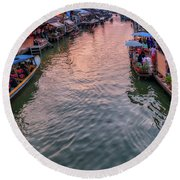 Floating Market Sunset Round Beach Towel