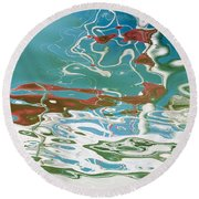 Floating On Blue 35 Round Beach Towel