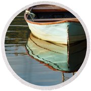 Round Beach Towel featuring the photograph Floating On Blue 44 by Wendy Wilton