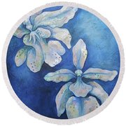 Floating Orchid Round Beach Towel by Shadia Derbyshire
