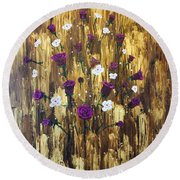 Floating Royal Roses Round Beach Towel
