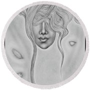 Floating Sorrow Round Beach Towel