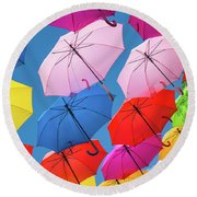 Floating Umbrellas Round Beach Towel