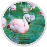 Flock Of Flamingos Round Beach Towel