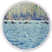 Flock Of Geese Round Beach Towel
