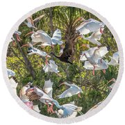 Flock Of Mixed Birds Taking Off Round Beach Towel