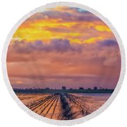 Flooded Field At Sunset Round Beach Towel