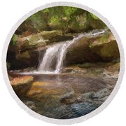 Flooded Waterfall In The Forest Round Beach Towel