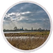 Round Beach Towel featuring the photograph Floodplains Near Culemborg by Frans Blok