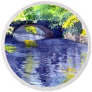 Round Beach Towel featuring the painting Floods by Anil Nene