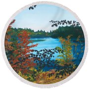 Round Beach Towel featuring the painting Floodwood by Lynne Reichhart