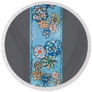 Floor Cloth Blue Flowers Round Beach Towel