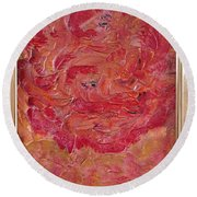 Floral Abstract 1 Round Beach Towel