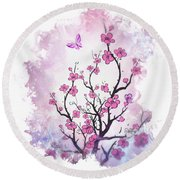 Floral Abstract Painting  Round Beach Towel