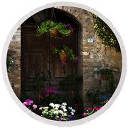 Floral Adorned Doorway Round Beach Towel by Marilyn Hunt