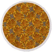 Round Beach Towel featuring the digital art Floral Adornment by Asok Mukhopadhyay