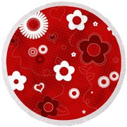 Floral And Hearts Valentine Pattern Round Beach Towel by Serena King