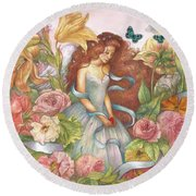 Floral Angel Glamorous Botanical Round Beach Towel