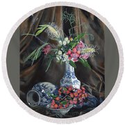 Floral Arrangement Round Beach Towel