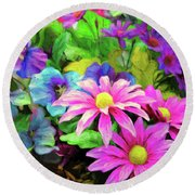 Floral Bouqet Round Beach Towel