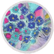 Floral Bouquet Abstract Painting  Round Beach Towel
