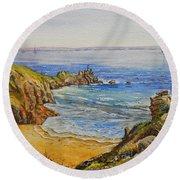 Floral Cliffs Round Beach Towel