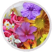 Floral Collage 01 Round Beach Towel