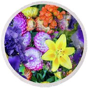 Floral Collage 02 Round Beach Towel
