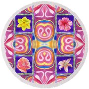 Floral Collage Daffodil Hibiscus Poppy Lily Round Beach Towel