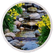 Floral Creek Round Beach Towel