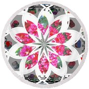 Floral  Design Round Beach Towel by Shirley Moravec