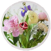 Round Beach Towel featuring the photograph Floral Display by Wendy Wilton