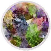 Floral Dream Of Oriental Beauty Round Beach Towel