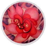 Floral Energies Round Beach Towel