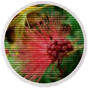 Floral Fan Round Beach Towel