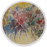 Round Beach Towel featuring the painting Floral Fantasy by Al Brown