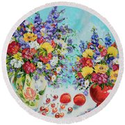 Floral Fantasy Round Beach Towel by Alexandra Maria Ethlyn Cheshire