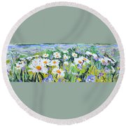 Round Beach Towel featuring the painting Floral Field by Jodie Marie Anne Richardson Traugott          aka jm-ART