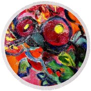 Floral Fiesta With Hola Round Beach Towel