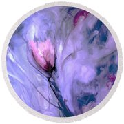 Floral Heaven Painting Abstract Round Beach Towel by Lisa Kaiser