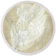 Floral Imprints Round Beach Towel